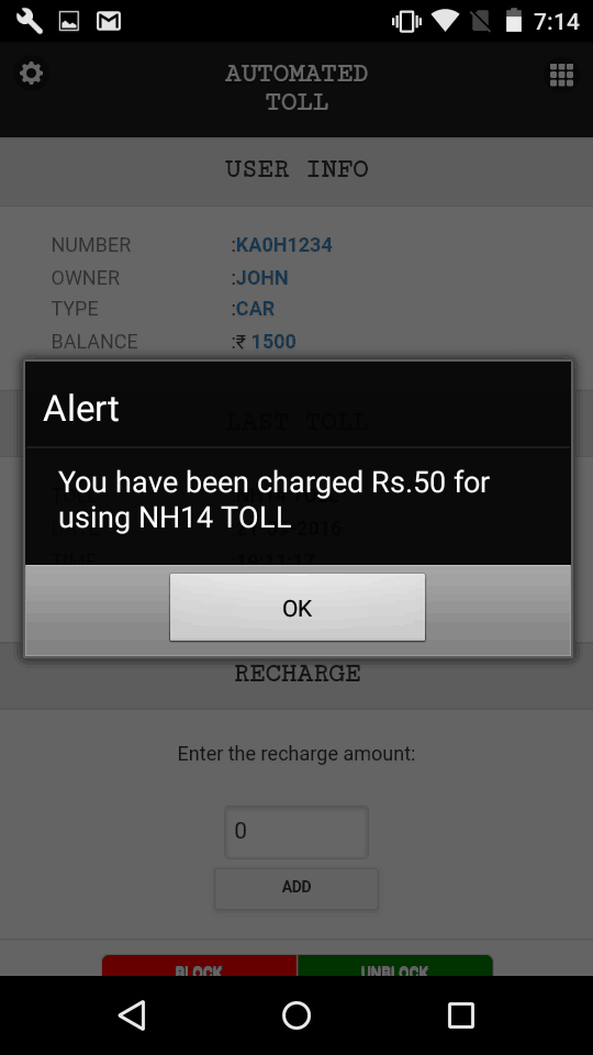 Mobile App Toll Charge Alert