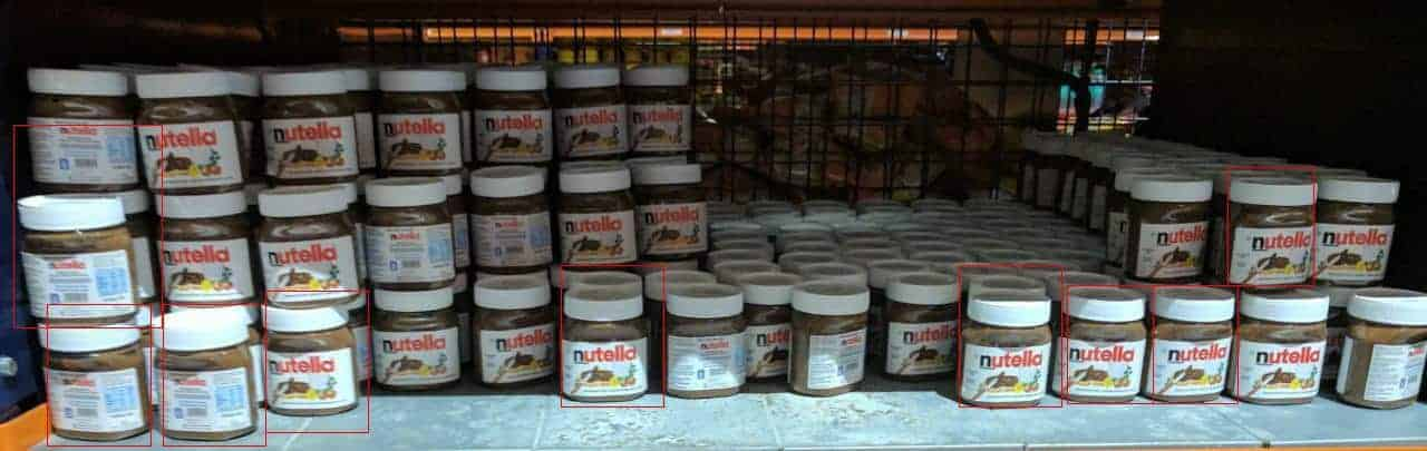 Nutella stocked in shelf